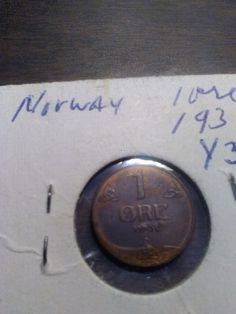 Norway 1 ore coin, 1936, bronze, in extremely fine condition