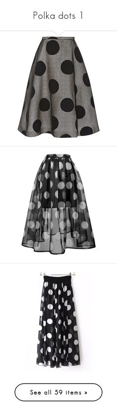 """Polka dots 1"" by minorseventh ❤ liked on Polyvore featuring skirts, bottoms, rochas, saias, stretch wool skirt, wool skater skirt, wool skirt, flared skirt, lined skirt and black"