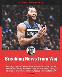 """NBA on ESPN on Instagram: """"Derrick Rose is looking to make a move to the midwest, per @wojespn."""" #DerrickRose #MinnesotaTimberwolves #DetroitPistons Minnesota Timberwolves, Derrick Rose, Detroit Pistons, Free Agent, Espn, Nba, Basketball, Motivation, How To Make"""