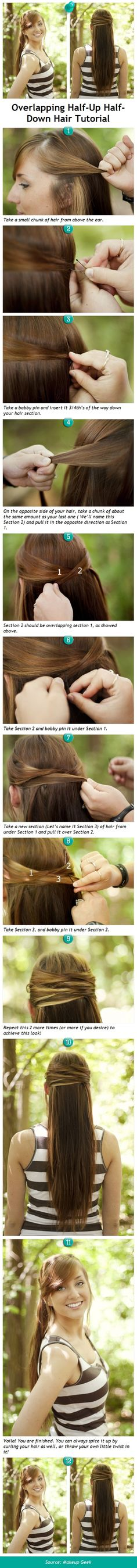 Overlapping Half-Up Half-Down Hair Tutorial - Pindemy