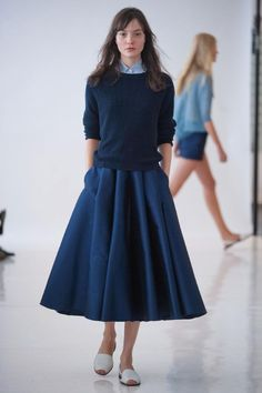 Organic by John Patrick, New York, Spring 2014. Navy sweater and circle skirt #minimalist #fashion