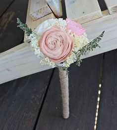 Flower Wand, Flower Girl, Toss Bouquet , Alternative Natural Bouquet, Keepsake Wood Bouquet, Shabby Chic Rustic Wedding
