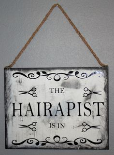 Harapist is in/out sign. Distressed Black and White Wooden sign, Hairdresser Sign, Salon Sign, Custom Sign, by SimplyChicDesignzCo on Etsy