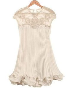 SheInside Apricot Sleeveless Bead Pleated Chiffon Dress