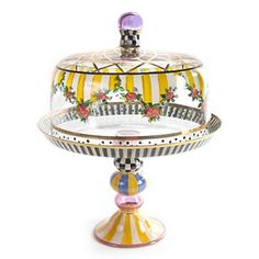 Striped Awning Cake Dome & Stand Set