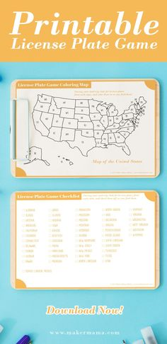 Looking for a fun and easy way to keep your kids occupied on your next family road trip? Download my FREE license plate game printable map and checklist! Printable Maps, Printables, Making Connections, United States Map, Family Road Trips, Making Memories, Camping, Plates, Easy