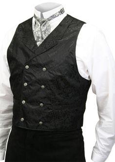 Baker City Vest - Black nice look Bandana Pirate, Gilet Costume, Double Breasted Vest, Pantalon Long, Period Outfit, Collar Dress, Dress Vest, Wedding Suits, Mens Fashion