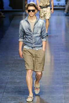 Dolce & Gabbana Men's Denim shirt paired with shorts.. the fedora completes the look - Spring/Summer 2012 collection as seen at the recent Fashion Week in Milan, Italy