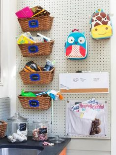 With a fresh coat of neutral paint, pegboard seamlessly blends into any room of the home — including a mudroom where essentials for the whole family are kept. As little ones grow, the pegboard can easily accommodate new gear.