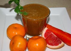 Ruby Mandarin Juice 4 mandarins ½-1 ruby grapefruit 2 celery sticks 1 carrot 1 in (2.5 cm) piece of ginger root