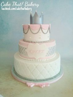 Princess first birthday pink and grey quilted fondant silver tiara