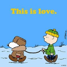 'Love is walking the dog, in the Snow, in a Parka!', Snoopy and Charlie Brown. Snoopy Christmas, Charlie Brown Christmas, Christmas Animals, Christmas Humor, Peanuts Cartoon, Peanuts Snoopy, Minions, Charlie Brown Y Snoopy, Snoopy Pictures