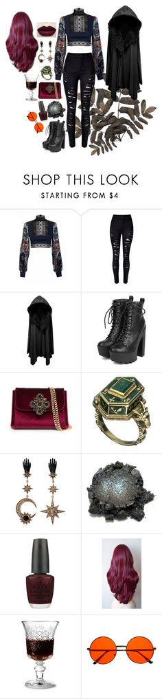 """Mystery"" by jeanettebeatrice ❤ liked on Polyvore featuring JIRI KALFAR, WithChic, Breckelle's, Bebe, Alexis Bittar, Roberto Cavalli, OPI, La Rochère and INDIE HAIR"