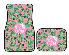 Car Accessory for Woman | Monogrammed Car Mats | Palm Leaf | Monogrammed Gift