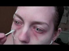 zombie makeup tutorial-using glue, toilet paper, food dye, and corn syrup