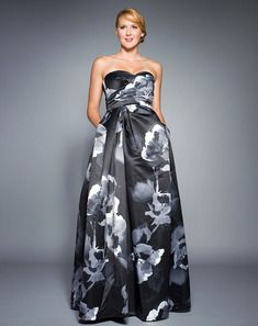 Strapless Floral Satin Gown -  awesome for ladies that don't want the sequin look!