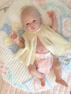 Boppy style posing pillow made from vintage chenille baby blanket.