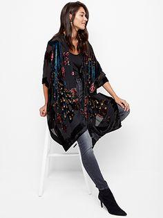 Kimono, samettikuviointi Musta
