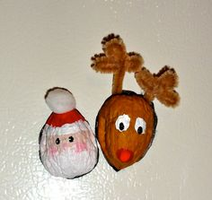 Santa & Rudolph Walnut Shell Magnets. $2.00, via Etsy.