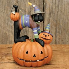 Halloween Cat in Sweater Standing on Pumpkins Figurine - Halloween Folk Art & Collectibles by Williraye Studio