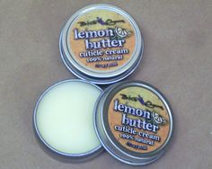 Lemon Butter Cuticle Cream - sunflower seed oil, beeswax, coconut oil, sweet almond oil, lemon oil, mango butter and vitamin E in a .75 ounce tin.  $3.50