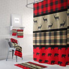 Plaid Shower Curtain, Fabric Shower Curtains, Baby Bathroom, Laundry In Bathroom, Plaid Decor, Christmas Bathroom, Primitive Bathrooms, Bathroom Images, Rustic Curtains