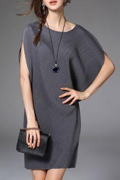 Feiyz Gray Asymmetric Dolman Sleeve Dress | Mini Dresses at DEZZAL