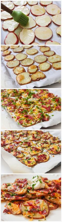 Baked Potato Rounds Loaded Baked Potato Rounds - great as an appetizer or a meal, these potato rounds are ridiculously easy and delish!Loaded Baked Potato Rounds - great as an appetizer or a meal, these potato rounds are ridiculously easy and delish! I Love Food, Good Food, Yummy Food, Potato Dishes, Food Dishes, Side Dishes, Tapas, Loaded Baked Potatoes, Baked Potato Slices