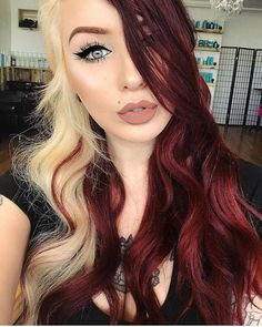 Hairstyles For Women With Round Faces - Hairstyles - - Hairstyles For Women With Round Faces - Hairstyles Split Hair, Split Dyed Hair, Which Hair Colour, Red Hair Color, Hairstyles For Round Faces, Short Red Hairstyles, Saree Hairstyles, Korean Hairstyles, Dyed Hair