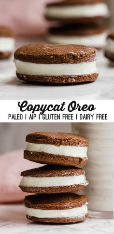 These homemade oreo cookies are a serious dose of nostalgia. They're gluten-free dairy-free paleo and AIP-friendly. These homemade oreo cookies are a serious dose of nostalgia. They're gluten-free dairy-free paleo and AIP-friendly. Paleo Dessert, Bon Dessert, Low Carb Dessert, Healthy Dessert Recipes, Healthy Desserts, Gourmet Recipes, Paleo Recipes, Gluten Free Dairy Free Desserts, Dairy Free Baking