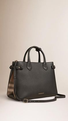 Black The Medium Banner In Leather And House Check Image 1 Burberryhandbags Burberry Handbags