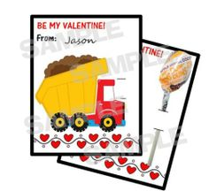 24 BUILD CONSTRUCTION Valentines Day Card HOLDS LOLLIPOP Personalized FREE SHIP