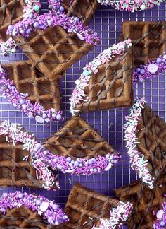 These pretty waffle wedges would certainly make breakfast better, but I like the idea of adding them to ice cream. Chocolate waffles dipped and drizzled in melted chocolate and covered in pastel sprin