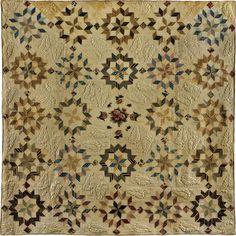 "Carpenter's Wheel Quilt Artist unidentified Location: Pennsylvania Date: 1835–1845 Materials: Cotton Dimensions: 102 1/4 × 101 1/4"""