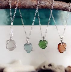 Sterling silver wire wrap Authentic sea glass by PureOneJewelry