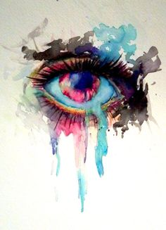 Featured Artist on Nicole Morrow Art (C) For this painting of an eye, I think the artist is using a wet on dry painting technique. I chose this image because it has an interesting focal point. What balance is the artist using? Watercolor Eyes, Watercolor Paintings, Watercolor Tattoos, Dali Paintings, Abstract Watercolor, Lapin Art, What's My Favorite Color, Chiaroscuro, Eye Art