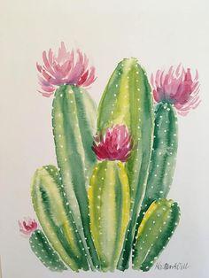 original watercolor print on 110 pound card stock aquarell, Cactus watercolor PRINT Cactus Drawing, Cactus Painting, Watercolor Cactus, Cactus Art, Easy Watercolor, Watercolor Print, Watercolour Painting, Cactus Plants, Garden Cactus