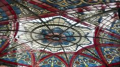 Custom Made Stained Glass Dome Ceiling Illuminated With Led Dimmable Lighting