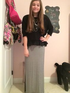 Maxi skirt with cozy sweater for fall