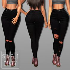 Simpliciaty: Sinny ripped black jeans • Sims 4 Downloads
