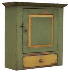 ... FURNITURE PAINTED COUNTRY WALL CUPBOARD PRIMITIVE EARLY AMERICAN DECOR