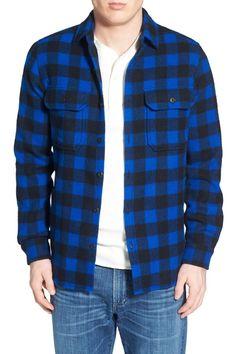 Buffalo Plaid Wool Blend Flannel Shirt