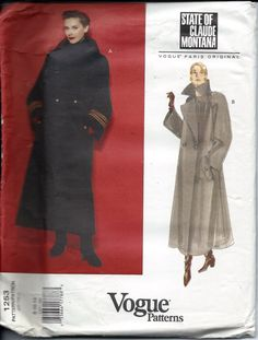 Vogue 1253  Vintage  Women's Coat Loose Fitting and Lined   Size  8-10-12  New  Uncut by Allicanfind on Etsy