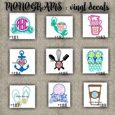 MONOGRAM vinyl decals | name | initial | decal | sticker | car decals | car stickers | laptop sticker - 181-189
