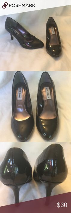 Worn on TV Steve madden black high heel 7 NBC Beautiful shiny black high heel pump by Steve Madden. Purchased from NBC Studios. Gently Used size 7m3 inch heel code nb17 Steve Madden Shoes Heels