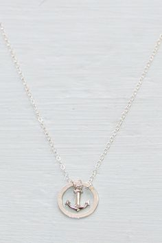 Anchor necklace nautical jewelry sterling silver by SeaAndCake, $34.00