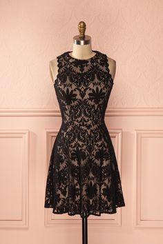 Robe noire trapèze dentelle velours sans manches - Black velvet lace a-line sleeveless dress