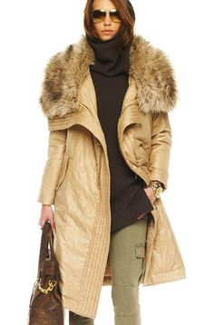 Michael Kors ~ Long Faux-Fur Collar Coat