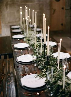 Green Bohemian Wedding Reception Centerpiece Photographer: Bryan N. Miller Photography, Via Rustic Events; Rustic boho chic greenery wedding reception centerpiece with black and white candles; Olive Branch Wedding, Branches Wedding, Olive Wedding, Minimalist Wedding Decor, Minimalist Centerpiece, Wedding Decorations, Christmas Decorations, Christmas Wreaths, Holiday Decor