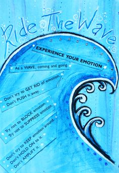 Ride the waves of emotion, #DBT Art Journal by Michelle Morgan  #Mindfulness of emotion